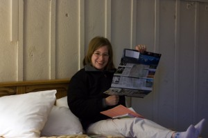 Megan in our Many Glacier Hotel Room